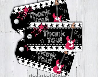 Pink Black Rock Star Printable Favor Thank You Tags -- Hot Pink Guitar Rock and Roll Birthday Gig, Party Like a Rock Star Tags -- PDF
