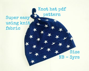 Knot beanie pattern, Newborn hat pattern, Baby sewing pattern, Top knot hat sewing pattern (S130), Baby hat pattern, Baby shower gift