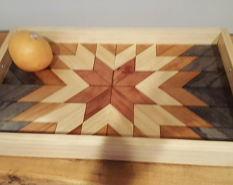 Serving tray, wood serving tray, geometric serving tray,  farmhouse tray