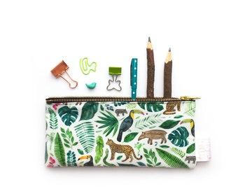 Tropical, Jungle, Pencil Case, Toucan, Pouch, Zipper Bag, Make Up Bag, Cosmetic Bag, Small Bag, Floral, Essentials Bag, Stationery, Purse,
