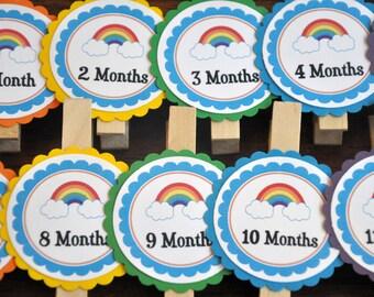 Photo Clips. Photo Banner. DIY Photo Banner. First Birthday. Rainbow.