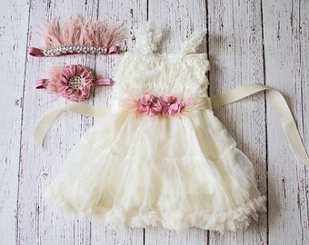 Flower Girl Dress, Rustic Lace Flower Girl Dress, Ivory Dress, baby Chiffon dress, Flower Girl Dresses, Toddler Dresses, Country Dress