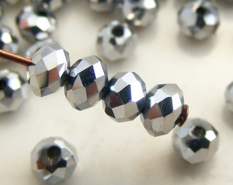 Crystal Beads 4x3mm Faceted Rondelles Metallic Silver Abacus (Qty 25) MW-4x3R-MS