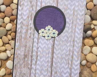 Purple & Gray Floral Frame Altered Composition Notebook