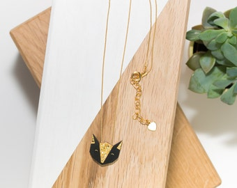 Fox necklace in natural (black/gold) and his gold chain