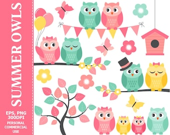 Summer Owls Clip Art - Owl, Summer, Flowers, Branch, Bunting, Butterflies Clip Art