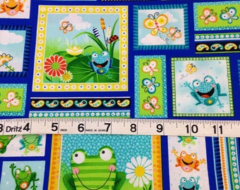 Frogs butterfly flowers lily pad pond fabric, toad ally terrific by Swizzle Stick Studio,green, blue turquoise, coordinate fabrics pictured.