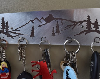 Magnetic Key Holder - Mountain Scene