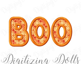 Halloween BOO Applique Machine Embroidery Design 4x4 5x7 6x10 8x8 Ghost INSTANT DOWNLOAD