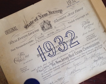 Antique 1932 New Jersey Real Estate License. Office Wall Decor. Paper Ephemera.