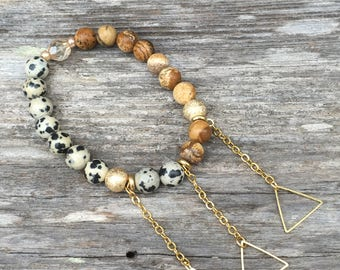 Dalmation and Picture Jasper Beaded Bracelet