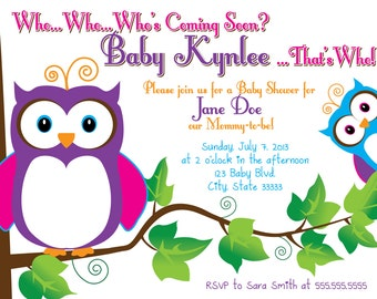 Owl Customizable Baby Shower Invitation, digital printable 5x7 file