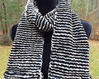 Thick Chenille Scarf, Handwoven Scarf in Black and Silver, Long Striped Scarf, Hand Woven fashion scarf, mens scarf, warm winter scarf