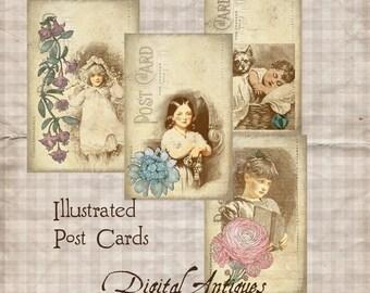 Illustrated Vintage Post Cards Printable Digital Download