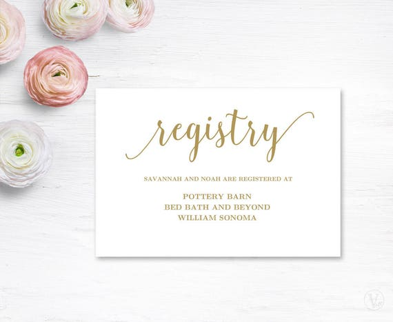 Wedding Gift Card Registry: Gold Gift Registery Card Template Printable Wedding Registry