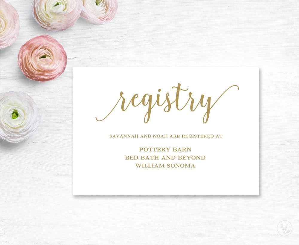 Wedding Registry Free Gifts: Gold Gift Registery Card Template Printable Wedding Registry