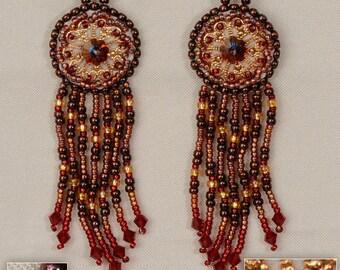 Long earrings Red earrings Beaded earrings Crystal earrings OOAK Top valentine gifts Special valentine gift Valentines jewelry Gift for Mom.