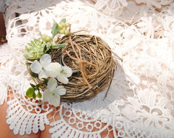 Wildflower Ring Nest - Rustic Bird Nest - Wedding Ring Nest - Wedding Ring Holder - Ring Bearer Alternative - Personalized Ring Holder