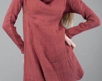 Linen women tunic, Pure linen dress, Dark Red Tunic, Linen Dress, Linen clothing, linen clothes, Organic Linen Dress