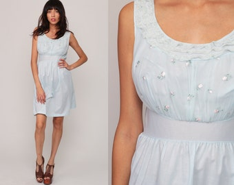 60s Nightgown Slip Dress Sheer Pastel Blue Lingerie Babydoll Mini 70s Vintage Nightgown Floral Sleeveless Empire Waist Small Medium