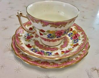 Vintage Old Royal Bone China Teacup Trio - Pretty Pink Floral Teacup Trio 1960s