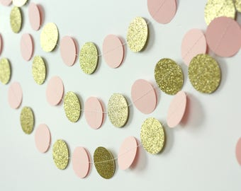 Pink and Gold Glitter Garland - Pink and Gold Baby Shower - Gold Glitter Garland - Paper Garland