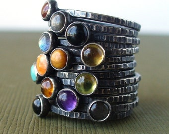 pick 6 - Tiny Stacking Set - Sterling Silver - Your choice of gemstones - also available in shiny or matte silver