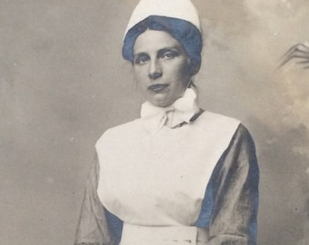 Beautiful WWI Era Nurse Antique Real Photo Postcard RPPC