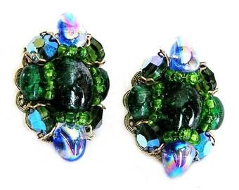 Hobe Green and Blue Iridescent Art Glass Clip Earrings