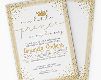 Prince Baby Shower Invitation - White and Gold - 5x7 - Prince Baby Shower - FREE Shipping - DIY Printable or Printed - Amanda