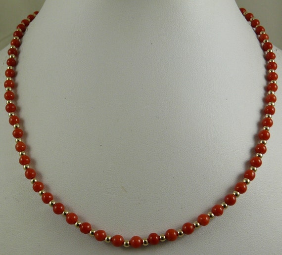 talian 4.4 mm - 4.7 mm Coral Necklace With 14K Yellow 3 mm Gold Bead Clasp