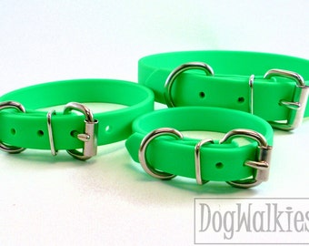 """Neon Apple Green Biothane Dog Collar - 5/8"""" (16mm) wide - Leather Look and Feel - Small Dog Collar - Stainless Steel or Solid Brass Hardware"""