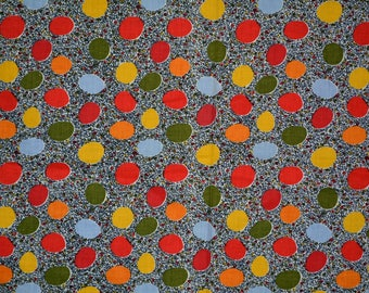 Vintage fabric 70s fabric novelty print Fabric by the yard Mod fabric circles dots for sewing 50s 60s skirt dress shift dress cotton fabric