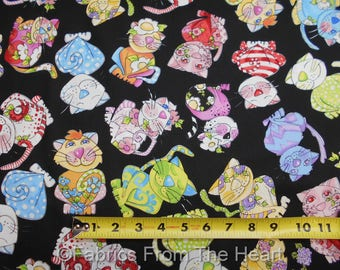 Calico Cats Silly Kittys Kittens Flowers on Black BY YARDS Loralie Cotton Fabric