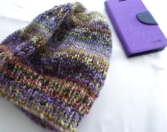 Purple Lilac Green Slouchy Cap Winter Cap Gift Idea Knit Hat Ready to Ship