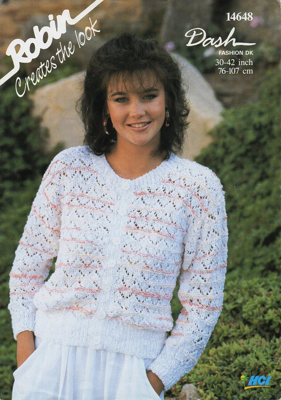 womens DK cardigan knitting pattern PDF ladies lacy jacket round ...
