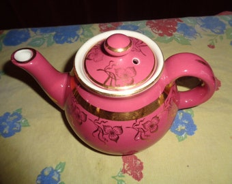 Hall China Co Teapot 2 Cup Rose w/gold trim USA 034