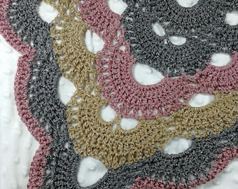 Crochet silver, gold and pink virus festival shawl scarf