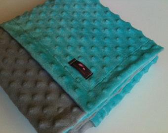 Minky Blanket- Gray and Aqua Blue 35 x 30