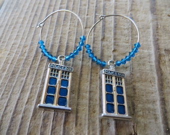 Doctor Who Inspired Blue Police Box and Crystals Hoop Earrings