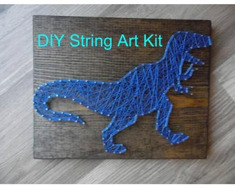 DIY string art kit, DIY T-Rex string art kit, string art kit, t-rex wall art, diy t-rex decor, t-rex string art, string art t-rex, diy art