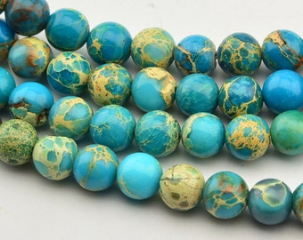 "15.5""8mm Blue Sea Sediment Jasper Round Beads"