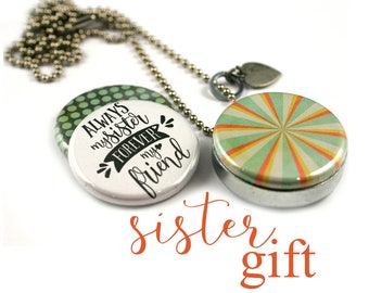 Sister Gift • Sister Locket Necklace • Sister Jewelry • Sister in Law Gift • 3 Lockets in 1 • Custom Initial • Steel • Sister Friend Quote