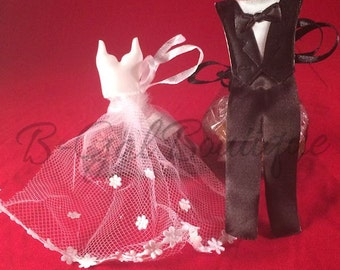 Set of 12 Bride & Groom Wedding Gown and Tuxedo Satin Tulle Organza Favor Bags~Treat~Candy~Dress~Tux