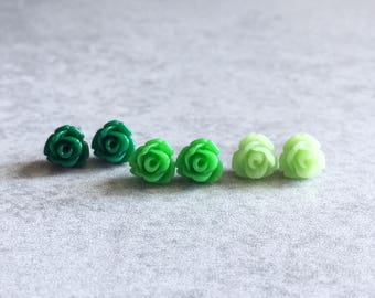 Forest · Shamrock · Pistachio // Green Rose Stud Earrings, Set of 3 - Tiny Flowers, Hypoallergenic, Stainless Steel Stud Posts, Mint, Lime