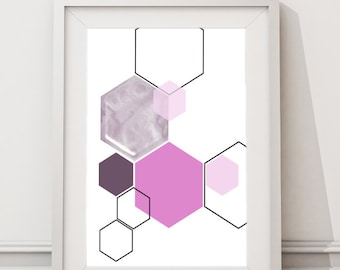 Scattered Lilac Hexagon Art, Mid Century Modern Printable Art, Instant Download Large Art Print, Geometric, Abstract Shapes, Grey and Pink