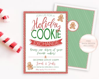 Christmas Cookie Exchange Invitation, Christmas Party Invitation, Holiday Cookie Exchange Invites, Cookie Swap, Cookie Exchange Invites [96]