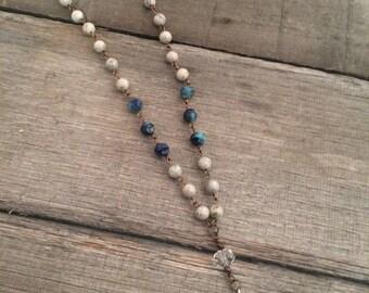 Grey Feldspar and Czech Glass Bead with Blue Stone Pendant Necklace