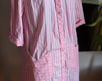 Large  - Sweet Pink House Dress - Model's Coat - Stripes and Polka Dots