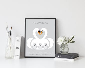 Family of Swans personalised print